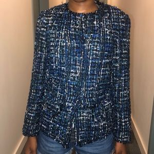 Ann Taylor Blue Tweed Blazer